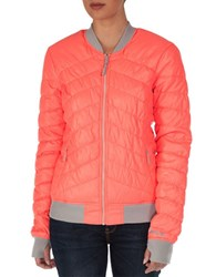 Bench Puffer Thumb Hole Bomber Jacket Living Coral