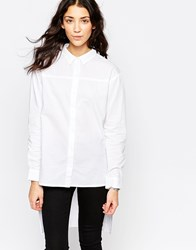 Influence Dipped Hem Long Sleeve Shirt White