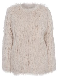 French Connection Marissa Faux Fur Jacket Classic Cream