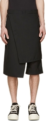 D.Gnak By Kang.D Black Wool Wrap Shorts