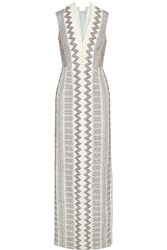 Tory Burch Smocked Crepe De Chine Gown White