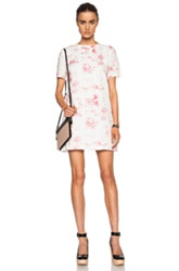 Band Of Outsiders Tropical Print Linen T Shirt Dress In Red White Floral