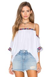 Piper Xico Beaded Cold Shoulder Top White