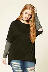 Forever 21 Plus Size Cutout Elbow Top Black Charcoal