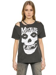R 13 Misfits Ripped Neck Cotton T Shirt