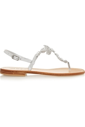 Musa Crystal Embellished Metallic Leather Sandals
