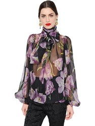Dolce And Gabbana Tulip Print Sheer Silk Chiffon Shirt