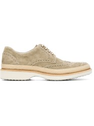 Hogan Rubber Sole Brogues Nude And Neutrals