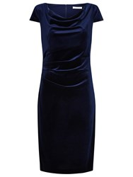 Jacques Vert Cap Sleeve Velvet Dress Navy