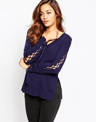 Asos Fine Jumper With Lace Up Sleeve Detail In Cashmere Mix Navy