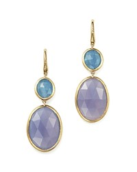 Marco Bicego Siviglia Resort Drop Earrings With Aquamarine And Chalcedony Stones In 18K Yellow Gold Multi Gold
