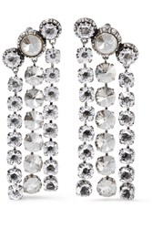 Lanvin Silver And Pewter Plated Swarovski Crystal Clip Earrings