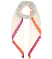 Loro Piana Quadrata Rainbow Cashmere And Silk Scarf White