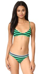Stella Mccartney Stripe Scoop Triangle Bikini Top Calypso Green Navy Stripe