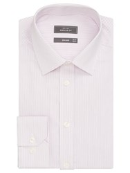 John Lewis Non Iron Stripe Regular Fit Shirt Pink White