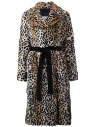 Yves Salomon Meteo By Leopard Print Mid Coat Nude Neutrals