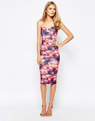 Oh My Love Notch Front Midi Dress In Mirror Print Rose