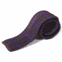 Nick Bronson Knitted Silk Stripe Tie Purple Violet