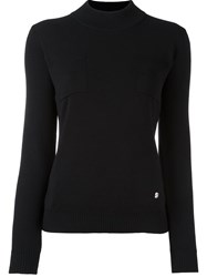 Versus Ribbed Mock Neck Jumper Black