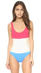 Solid And Striped Anne Marie Colorblock Swimsuit Raspberry Cream Blue