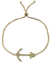 Giani Bernini Cubic Zirconia Anchor Adjustable Slider Bracelet In Sterling Silver Only At Macy's Yellow Gold