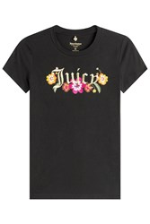 Juicy Couture Embroidered Cotton T Shirt Black
