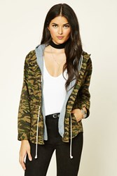 Forever 21 Contemporary Camo Print Jacket Olive Brown