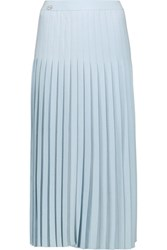 Vionnet Pleated Wool Midi Skirt Sky Blue