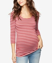 A Pea In The Pod Maternity Ruched Tunic Red White Stripe