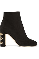 Dolce And Gabbana Embellished Suede Ankle Boots Black