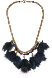 Isabel Marant Collier Gold Plated Feather And Bead Necklace Blue