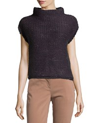 Brunello Cucinelli Cashmere Funnel Neck Cap Sleeve Sweater Moonlight