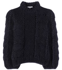 Ganni The Julliard Mohair And Wool Knitted Sweater Blue