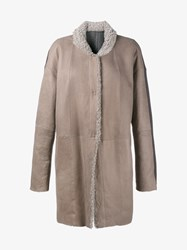 Frauenschuh Shearling Lined Cashmere And Leather Coat Cream Grey Black Denim