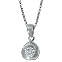 Jools By Jenny Brown Sterling Silver Cubic Zirconia Small Triple Wave Pendant Rhodium