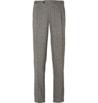 Thom Sweeney Grey Slim Fit Herringbone Wool Suit Trousers Gray