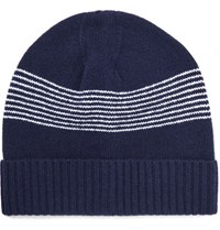 A.P.C. Derek Striped Wool Beanie Midnight Blue