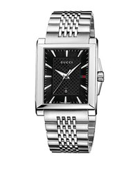 Gucci Mens Stainless Steel Square Watch With Bracelet Silver