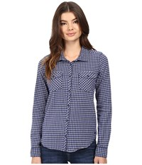 Roxy Squary Cool Long Sleeve Flannel Shirt Vichy Love Blue Print Women's Clothing