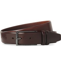 Hugo Boss Brushed Leather Belt Med Brown