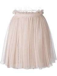 Alexander Mcqueen Floral Lace Flared Skirt Nude And Neutrals