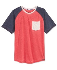 Ocean Current Men's Ramiro Burnout Colorblocked Raglan Sleeve T Shirt New Red