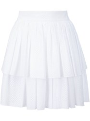 Sophie Theallet Perforated Layered Skirt White