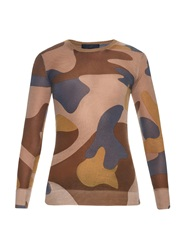 Burberry Camouflage Cashmere And Silk Blend Sweater