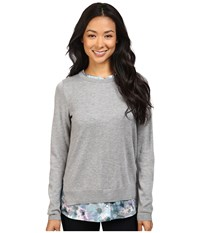 Nydj Petite Mixed Media Crew Neck Sweater Winter Frost Petals Women's Sweater Multi