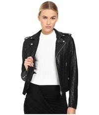 The Kooples Perfecto In Waxed Lace Black Women's Coat