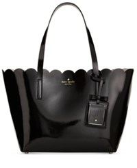 Kate Spade New York Lily Avenue Patent Small Carrigan Tote Black Crisp Linen