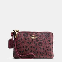 Coach Corner Zip Wristlet In Willow Floral Print Coated Canvas Light Gold Burgundy