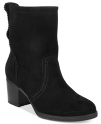 White Mountain Behari Block Heel Slouchy Booties Women's Shoes Black