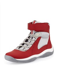 Prada Punta Ala High Top Sneaker Men's Size 9.5 10.5Us Red